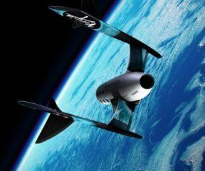 Virgin spaceship in space