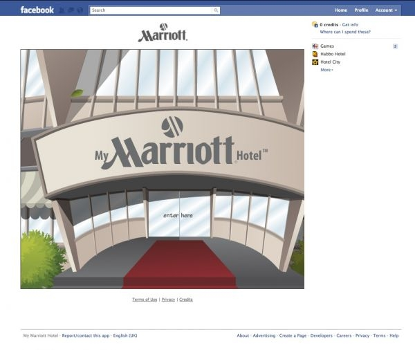 My Marriott Hotel game Facebook