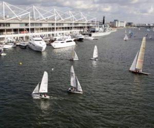Boats on the water at the London Boat Show