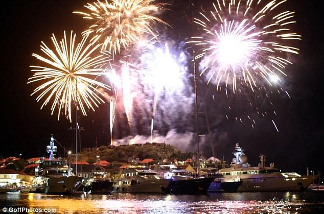 Fireworks harbour St Barts