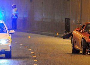 crashed Ferrari car