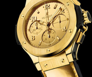 Hublot monochrome gold watch