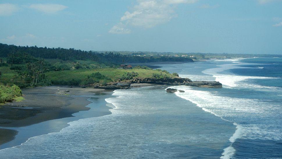 Bali black sand beach view