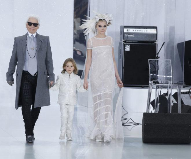Cara Delevingne and Karl Lagerfeld