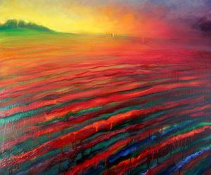 Glowing Woman in Red Landscape; Elling Reitan