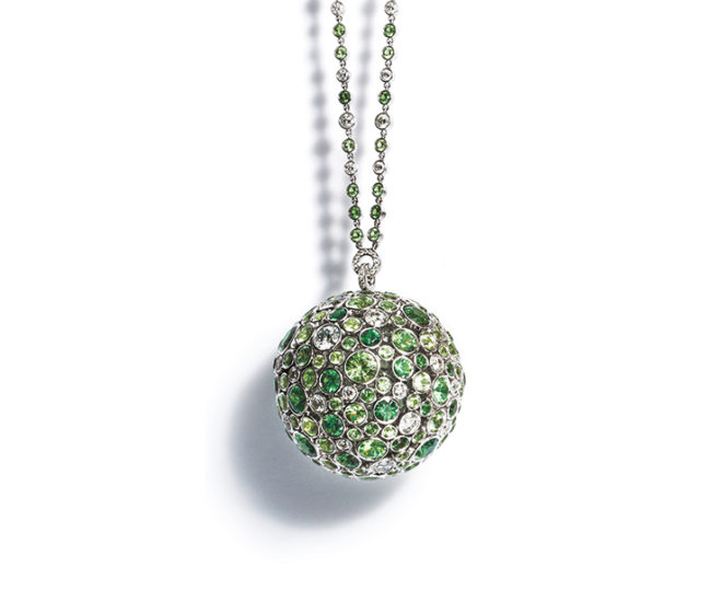 Tiffany & Co. Masterpieces 2016 Prism pendant necklace in platinum with tsavorite garnets and diamonds