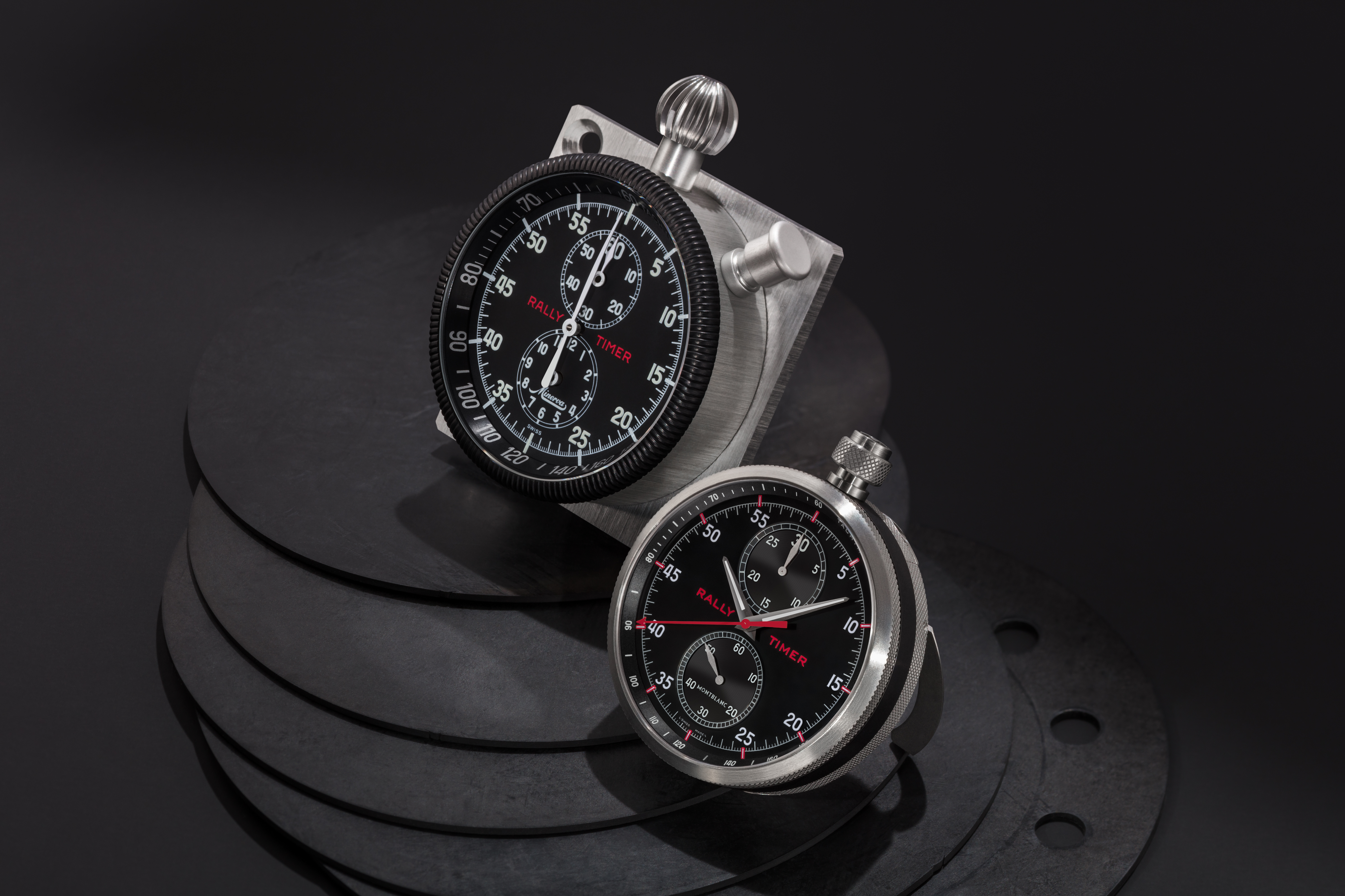 Montblanc TimeWalker Chronograph Rally Timer Counter in two of its transformations