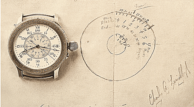 Charles Lindbergh's original sketch of what would become the Lindbergh Hour Angle watch, next to the original model