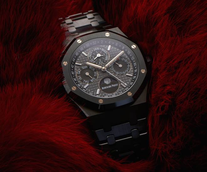The Audemars Piguet Royal Oak Perpetual Calendar in black ceramic has a case with water resistance of up to 50 metres
