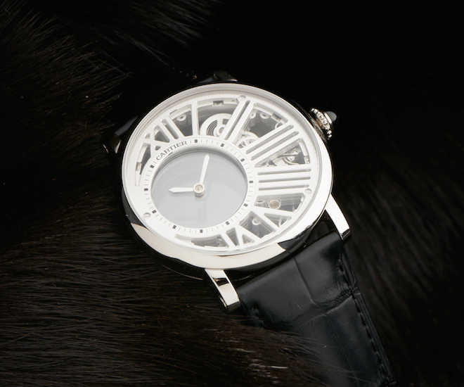 The Rotonde de Cartier Skeleton Mysterious Hour with a 42-millimetre palladium case