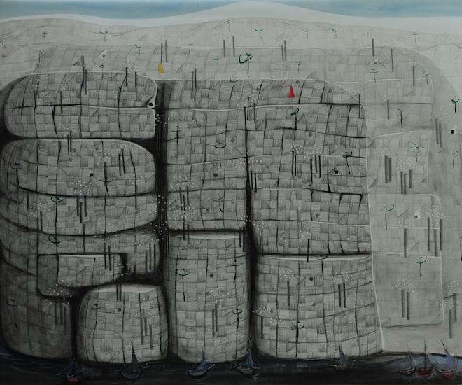 Tang Kok Soo, 'Elephants Crossing the Water', mixed media
