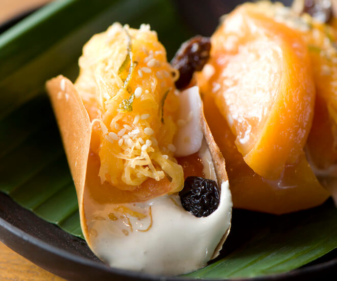 Sweet Thai wafers at Nahm, Bangkok