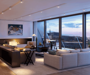 The living room of an apartment at Burlington Gate Mayfair