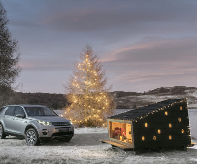 land rover christmas cabin