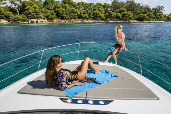 The foredeck provides an enjoyable lounging area