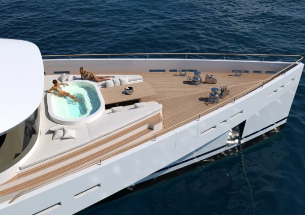 Komorebi features a jacuzzi on its innovative foredeck