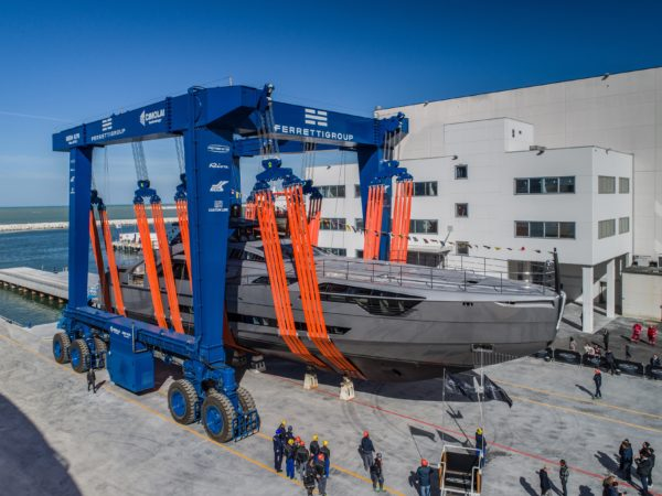 The Pershing 140 was built and launched at Ferretti Group's Superyacht Yard in Ancona, Italy