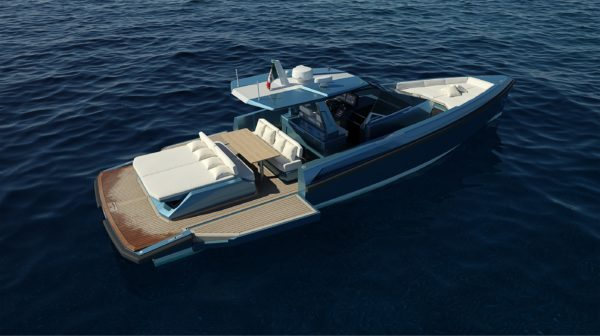 The 48 Wallytender will feature drop-down aft bulwarks for increased social space