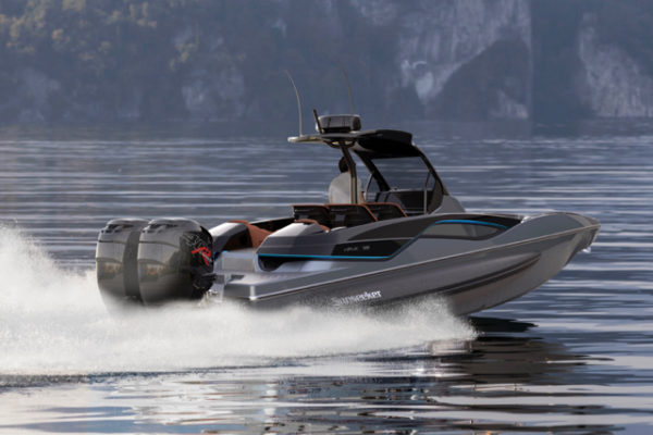 Twin Mercury R400 outboards are fitted as standard and mated to Mercury Racing Digital Zero Effort throttles.