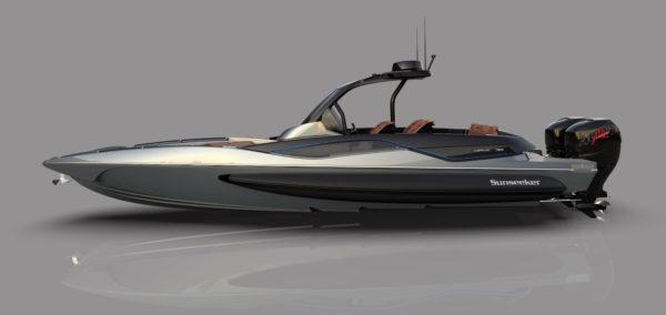 The sleek hull harks back to Sunseeker's performance-focused heritage.