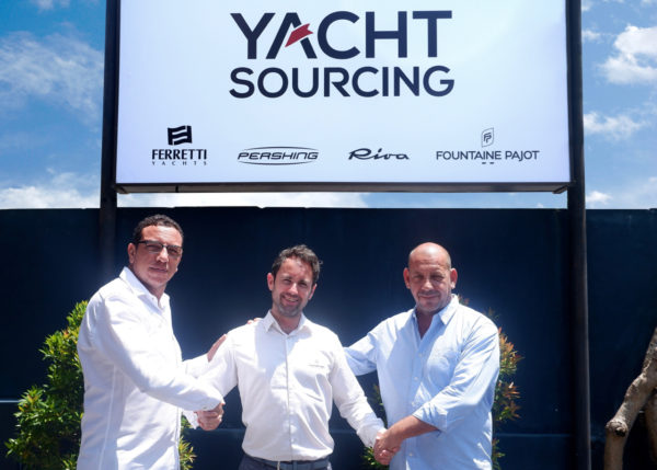 Yacht Sourcing co-founders Boumedienne Senous (left) and Xavier Fabre (right) with Kevin Corfa of Fountaine Pajot