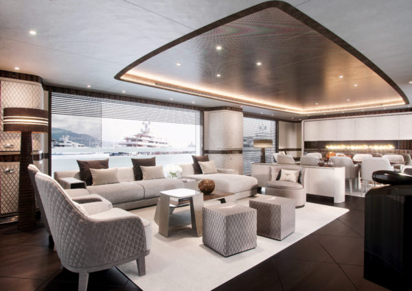 The yacht's interiors have been developed with Bentley Home