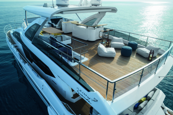 The large flybridge has a helm station to starboard but otherwise offers a lot of options for fixed or movable furniture