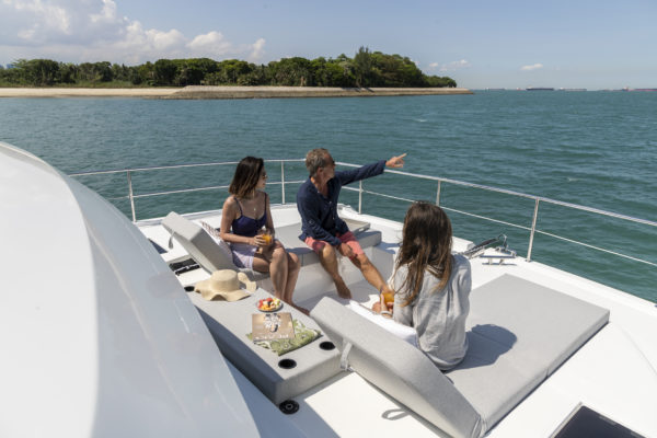 The sunken foredeck is popular for both lounging and socialising