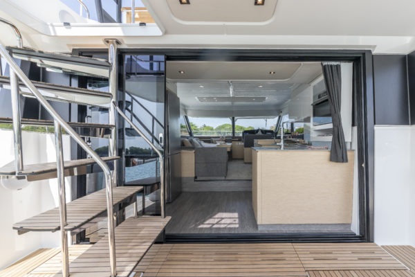 The saloon and aft galley combine well with the cockpit when the aft doors slide behind the flybridge staircase