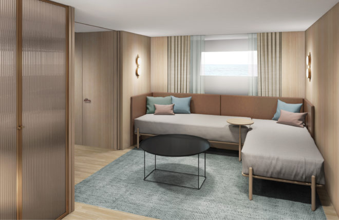 On the SD96, the lower-deck living room (below) can be transformed into a VIP cabin