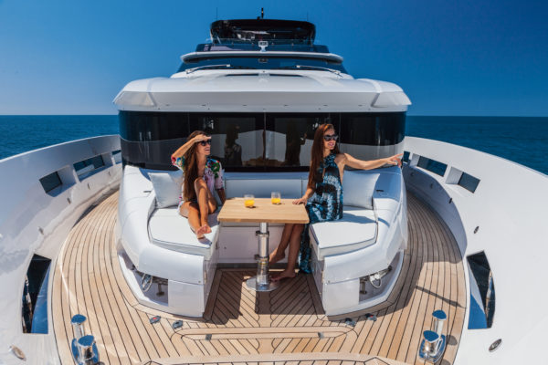The cosy foredeck sits in front of the master suite on the main deck