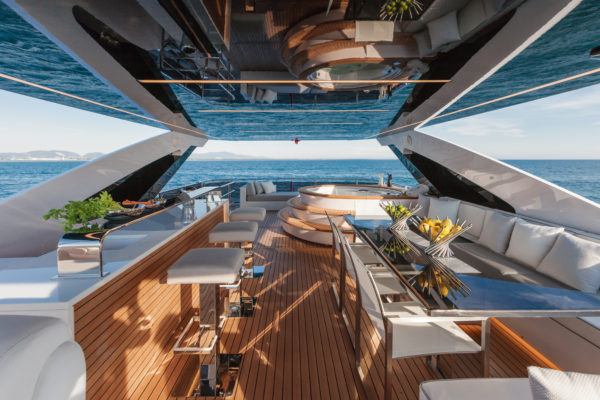 The elongated superstructure contributes to the size of the flybridge, where the jacuzzi is a highlight