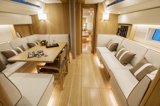 The interior of the first Swan 48, which will have its world premiere at Cannes in September