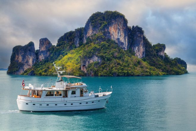 The elegant 65ft L'Orientale was built by Cheoy Lee in 1978 and refitted in 2018