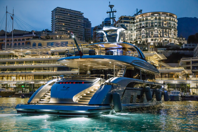 The GTT 115 looks stunning at night in Monaco, headquarters of Dynamiq; the innovative superyacht builder constructs its yachts in Italy