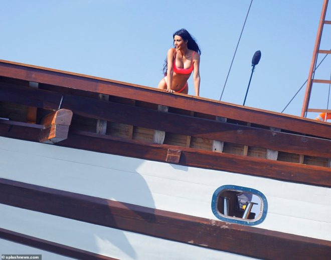 Kim Kardashian considers jumping off of Prana by Atzaro in an episode of Keeping Up with the Kardashians
