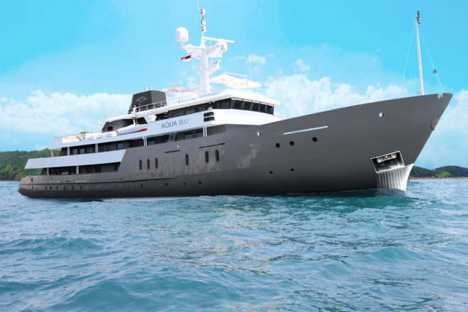 A refurbished British naval explorer, the 60m Aqua Blu features 15 suites for charter and will start operating in Indonesia later this year