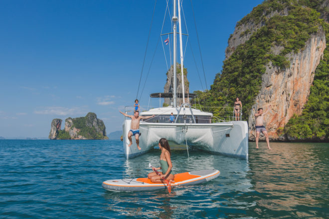 The Lagoon 52F Blue (also middle) has proved a popular addition to the Simpson Yacht Charter fleet since 2018, with a range of toys adding to the activities on offer