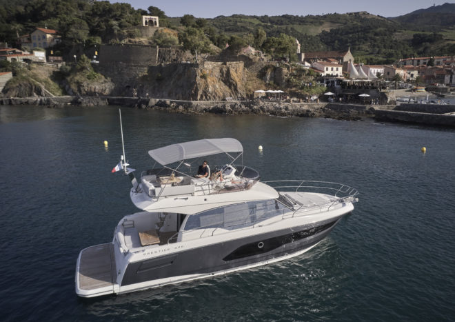 Prestige's 420 (above) and 420S are entry models to its Flybridge and S-Line ranges