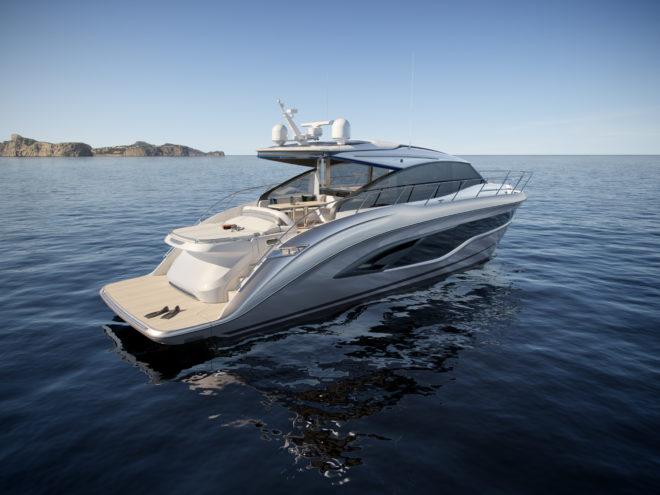 Princess's sleek V55 features an elegant aft sunpad and can reach 37 knots