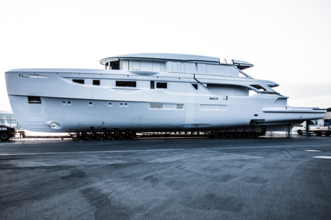 The fibreglass hull of the first Oasis 40M, which has been bought by an American