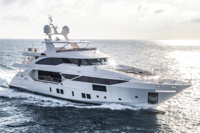 The Asian-owned Benetti Fast 125 Bangadang showed at this year's Cannes Yachting Festival