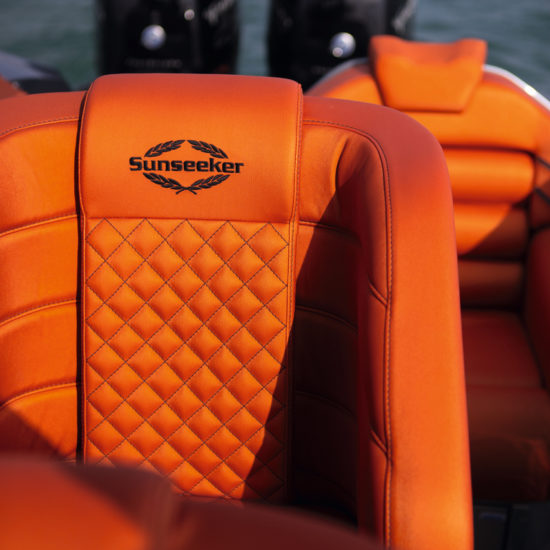Orange Silvertex is used on all seven forward-facing seats plus the forward sofa and sunpads, while the diamond-quilt pattern provides nice detailing