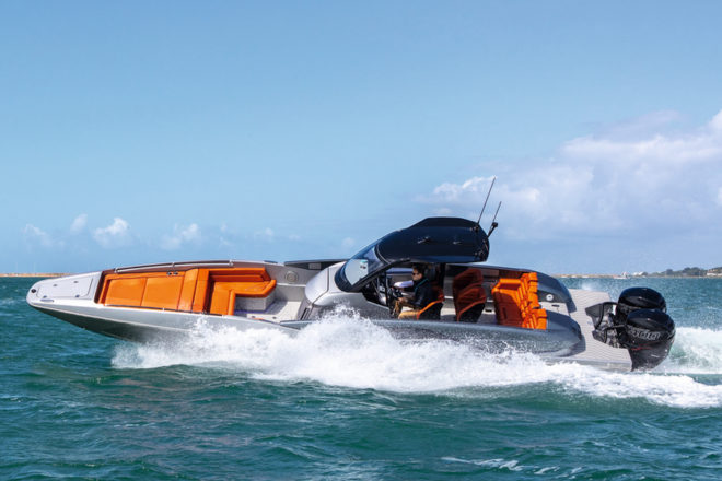 The Hawk 38 has a narrow, triple-stepped hull, enabling it to slice through waves at speed, while the Hypalon Stab tubes increase stability
