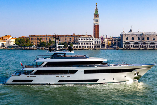 Riva's 50m Race (pictured in Venice) is the Italian yard's biggest-ever build - by quite some margin