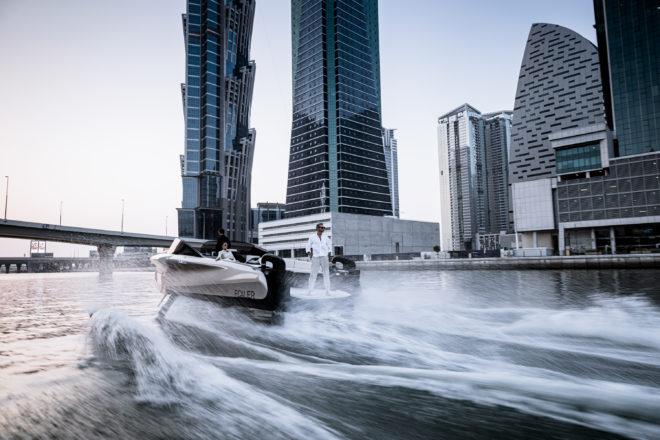 Built by Enata in the UAE, the 40-knot Foiler has been billed as 'The Flying Yacht' due to four foils that lift it up to 1.5m above the water, providing great stability
