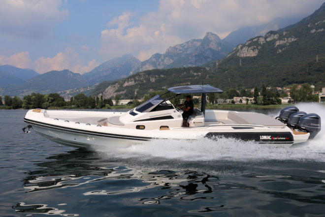 Lomac's Grantismo 12.0, which showed at Cannes, has a top speed of 57 knots with three 300hp Yamahas