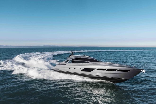 The 83ft, four-cabin Pershing 8X launched this year is the Ferretti Group's fastest yacht, hitting 48 knots with the option of twin 2,638hp MTUs