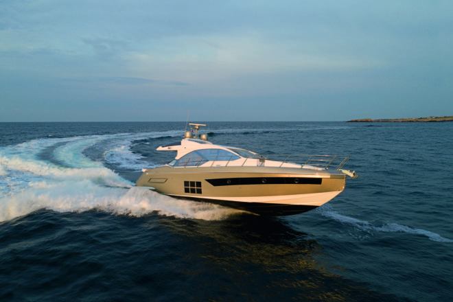The Azimut S6, which recently arrived in Asia, reaches 35 knots with three 550hp Volvo IPS700s