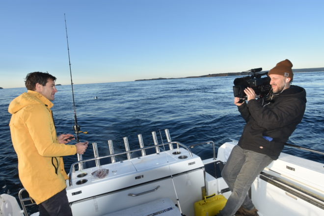 Clarke Gayford, fiancé of Prime Minister Jacinda Adern, filming Fish of the Day